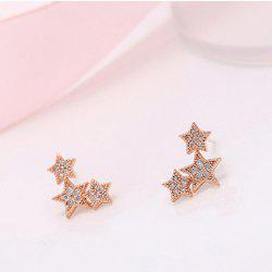 Pair of Alloy Rhinestone Star Stud Earrings
