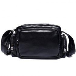 Leisure PU Leather and Zippers Design Messenger Bag For Men - BLACK