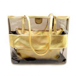 Stylish Splicing and Transparent Plastic Design Shoulder Bag For Women - GOLDEN