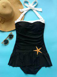Vintage Halter Neck Ruffled One Piece Swimwear