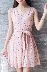 Sweet Polka Dot Pleated Dress For Women -