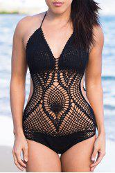 Halter Crochet Openwork One-Piece Swimwear - BLACK