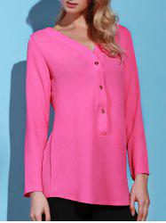Casual Solid Color V-Neck Long Sleeve Loose Blouse For Women -