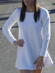 Long Sleeve Mini Skater Sweater Dress - WHITE