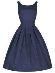 Vintage Cocktail Skater Dress - PURPLISH BLUE XL