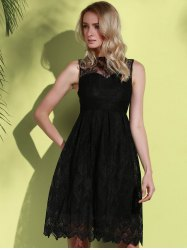 Midi Illusion Yoke Lace Homecoming Party Dress - BLACK