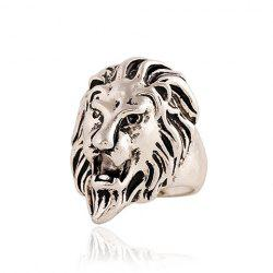 Punk Style Lion Head Shape Ring For Men - SILVER