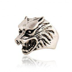 Punk Style Wolf Head Shape Ring For Men - SILVER GRAY