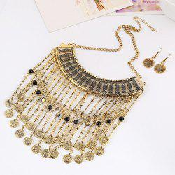 A Suit of Retro Multilayered Coin Necklace and Earrings
