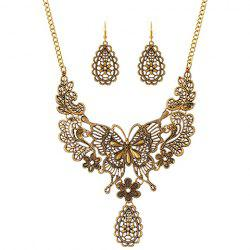 Hollowed Butterfly Filigree Necklace and Earrings -