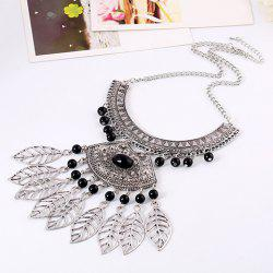 Vintage Leaf Hollow Out Beads Necklace -