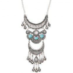 Vintage Rhinestone Faux Turquoise Moon Necklace