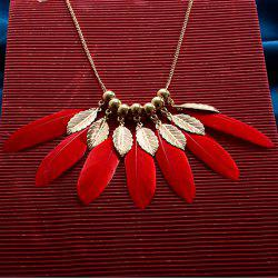 Feather Alloy Pendant Necklace -