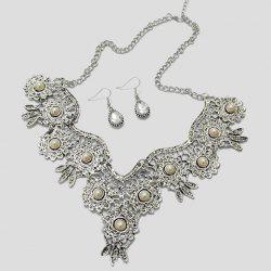 A Suit of Retro Water Drop Rhinestone Necklace and Earrings