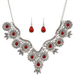 A Suit of Retro Rhinestone Water Drop Necklace and Earrings -