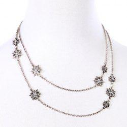 Chic Floral Rhinestone Necklace For Women