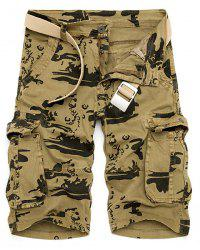 Multi-Pocket Loose Fit Straight Leg Zipper Fly Camo Cargo Shorts For Men