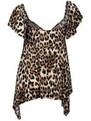Chic Square Neck Leopard Print Asymmetrical Women's T-Shirt