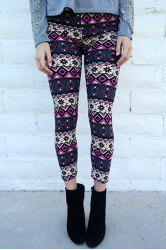 Chic Geometrical Print Color Block Skinny Leggings For Women - COLORMIX