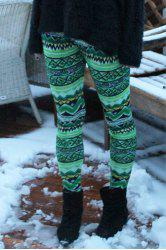 Stylish Elastic Waist Skinny Printed Colored Women's Leggings - GREEN