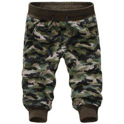 Casual Loose Fit Camo Print Beam Feet Lace-Up Capri Pants For Men
