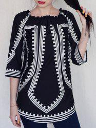 Off-The-Shoulder Long Sleeve Printed Casual Dress - BLACK