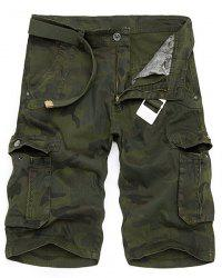 Camo Print Multi-Pocket Loose Fit Straight Leg Zipper Fly Cargo Shorts For Men - ARMY GREEN