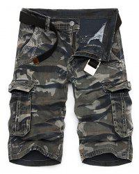 Camo Imprimer Multi-Pocket Loose Fit jambe droite Zipper Fly Cargo Shorts pour hommes - Camouflage