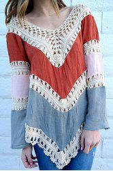 Crochet Panel Beach Tunic Cover Up Top - RED ONE SIZE(FIT SIZE XS TO M)