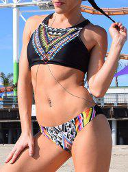 Ethnic Style Scoop Neck Tribal Printed Bikini Set For Women - BLACK