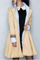 Noble Turn-Down Collar Long Sleeve Pure Color Self Tie Belt Women's Coat Dress - KHAKI