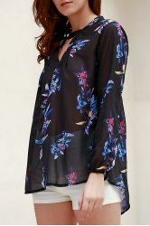 Fashionable V-Neck Colorful Floral Print Long Sleeve Shirt For Women -