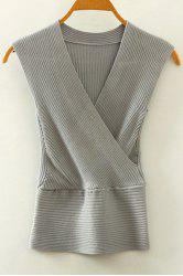 Stylish V-Neck Crossed Knitted Tank Top For Women