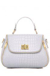 Retro Hasp and Crocodile Print Design Tote Bag For Women - LIGHT GRAY