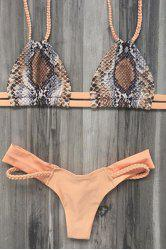 Stylish Printed Braided Spaghetti Straps Bikini Set For Women