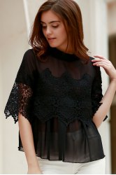 Sheer Lace Chiffon Splicing Blouse
