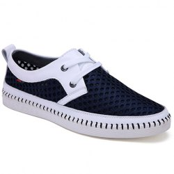 Simple Mesh and Lace-Up Design Casual Shoes For Men -
