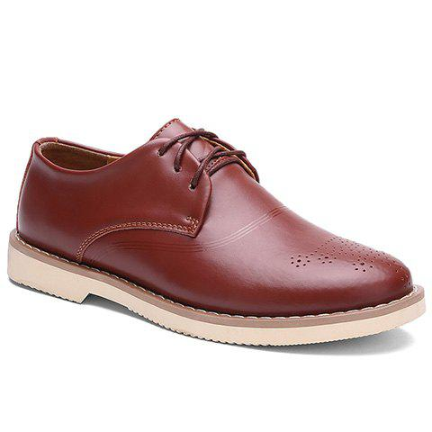 Fancy Simple Solid Color and Lace-Up Design Dress Shoes For Men