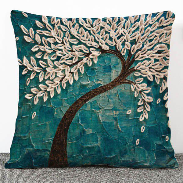 43 Off Hot Sale 3d Trees Pattern Flax Pillow Case