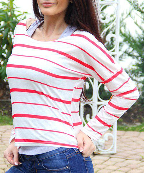 Latest Chic Scoop Neck Striped Elbow Spliced Long Sleeve T-Shirt For Women