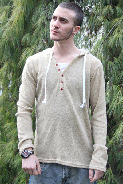 Chic Single-Breasted Drawstring Hooded Solid Color Slimming Long Sleeves Men's Thicken Sweater