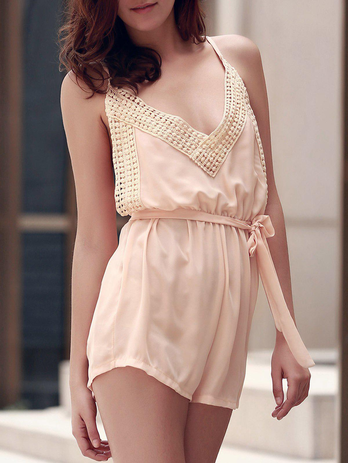 Discount Sexy Spaghetti Strap Sleeveless Solid Color Backless Self Tie Belt Romper For Women