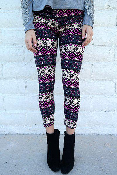 Chic Geometrical Print Color Block Skinny Leggings For WomenWOMEN<br><br>Size: ONE SIZE(FIT SIZE XS TO M); Color: COLORMIX; Style: Fashion; Material: Polyester; Waist Type: High; Pattern Type: Print; Weight: 0.150kg; Package Contents: 1 x Leggings;