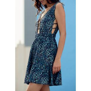 Stylish Plunging Neck Sleeveless Vintage Print Women's Dress