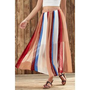 Stylish High Waist Color Block Chiffon Women's Skirt