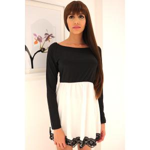 Lace Hem Long Sleeve Skater Tunic Dress - WHITE AND BLACK M
