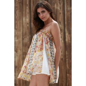 Cami Floral Imprimer élégant See-Through Tank Top Women -