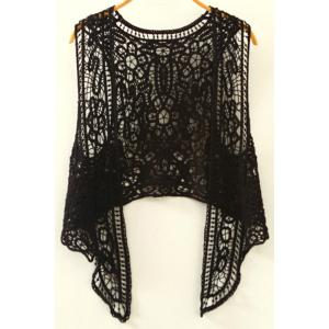 Stylish Collarless Sleeveless Cut Out Irregular Crochet Women's Blouse