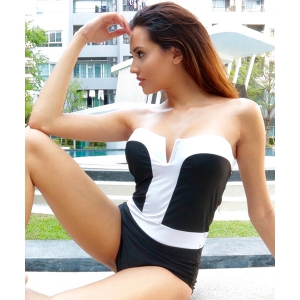 Strapless Bandeau One Piece Swimsuit - AS THE PICTURE S