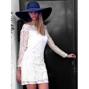 Off Shoulder Mini Lace Fitted Party Dress - WHITE S